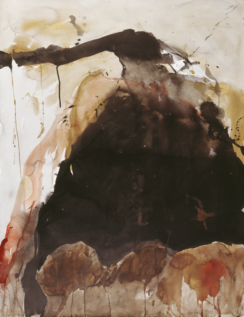 Walter Urbach<br />Ätna Mohn<br />Aquarell und Tusche auf Papier<br />101 x 78cm